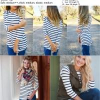27219 Soft Blue Stripe Leisure Blouse / Blouse Garis Biru Putih