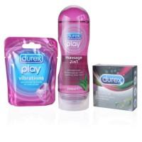 Perfect Durex: Play massage 200ml + vibrations ring + performa 3 pcs