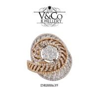 Cincin Berlian Wanita Cincin Emas Putih Cincin Tunangan DR000639