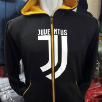 Jaket Hoodie Sweater Zipper Juventus Black New Logo