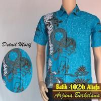Jual Kemeja Hem Batik Pria Wayang Jambul Biru Murah