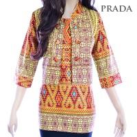 Jual Atasan Prada Songket Batik Wanita Blus Tunik Blouse Kemeja Batik A116 Murah