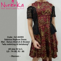 Dress Wanita Modern / Baju Pesta Sabrina Peplum Batik Dress GJ - 84393