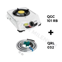 Jual Kompor Gas 1 Tungku QGC 101 RB dan Selang Regulator Gas 032 Quantum Murah