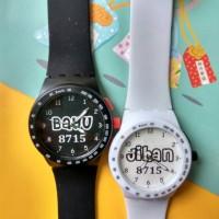 Jam tangan couple New Swatch rubber bisa pakai nama atau foto murah
