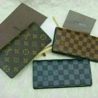 dompet panjang pria / wanita lv damier monogram brown and black