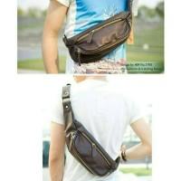 tas selempang pria import/tas kulit pria/slingbag gadget/waistbag