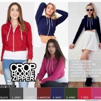Crop Hoodie Zipper jaket cewe wanita resleting kerudung tebal korea