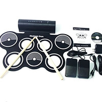 Portable Roll Up Drum Pad Set Kit with Built-in Speaker (With CD)