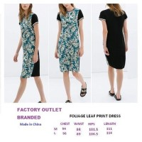 FOLIAGE LEAF PRINT DRESS. Made in China - FACTORY OUTLET BRANDED