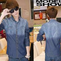 pakaian pria terpopuler baju pria jeans washed blue korean style