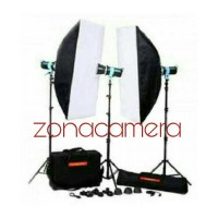 Paket Lampu Lighting Studio Golden Eagle Mini Studio T-228B kit 3