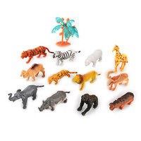 WiseBuy 12 New Hard Plastic Wild Animals Figures Set with Coconut Tree