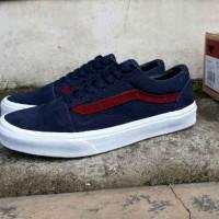Sepatu Sneakers Vans Old Skool Navy Maroon Waffle DT Casual Pria Kets