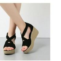 Sandal wedges hitam tan/coklat tali silang model baru uptudate