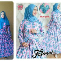 Gamis Syari Murah Fatimah Blue Pink (modern, cantik, modis)