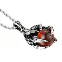 Dragon Claw Necklace Titanium Steel Kalung Liontin Pria Cakar Naga Red