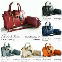 Tas Fashion Wanita Charles n Keith CK 2in1 Set Dompet 2 in 1