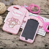 iPhone 5 5s 3D My Melody Bow Neck Strap Soft Silicone Phone Cover Case