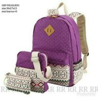 Ransel sekolah set 3in1 polka tribal ungu tas wanita murah