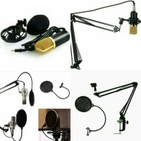 Condenser Microphone BM-700 + stand Holder mic + pop filter