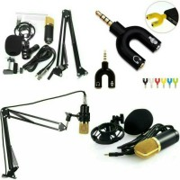 Condenser Microphone BM-700 + stand Holder mic + Splitter audio U