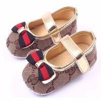 Sepatu Bayi Perempuan Prewalker Ribbon Brown Diskon