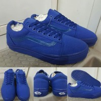 Sepatu Kets Skate Vans Old Skool Classics Canvas Mono Dark Blue Biru