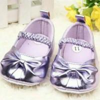 Sepatu prewalker pesta bayi perempuan import ungu purple glitter pita
