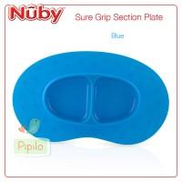 Nuby Sure Grip Suction Plate - Blue / Piring Perlengkapan Makan Anak