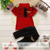 Setelan Captain Boy Red / Baju Anak Lnice Red Black