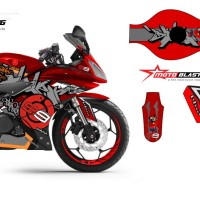 Decal stiker Yamaha R15 Blue JL99 Grafiti RED V.2
