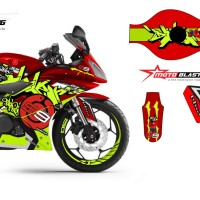 Decal stiker Yamaha R15 Blue JL99 Grafiti RED