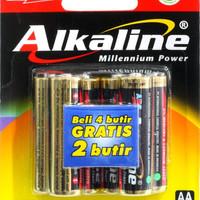 BATERAI ALKALINE ISI 6 AA/AAA
