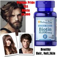 Puritans Pride Ultra Biotin 10000mcg Kesehatan Rambut Kulit 50 Softgel