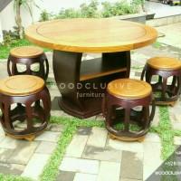 Meja kursi makan bundar antik unik kayu jati ( restaurant kafe cafe )