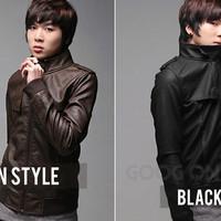 Jaket Kulit, Jaket Brown Black Stylis Korean SK - 25