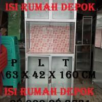 Lemari Rak Piring Kompor Magic Com Kaca Keramik 2 pintu Allumunium