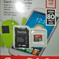 Jual Sandisk SD card 16GB class 10 speed 80 mB + Adapter Murah