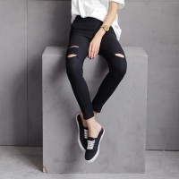 Jual celana jegging jeans stretch model sobek Murah