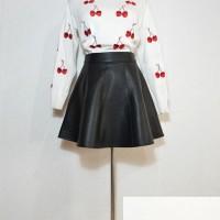 rok leather flare skirt a line kulit