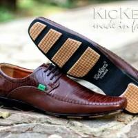 sepatu kerja pria kickers pantofel mocasin tali kulit asli original