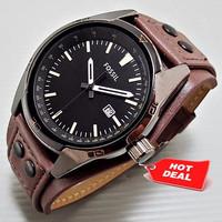 TERBATAS Jam Tangan Pria Fossil CB5 Leather Full Brown / Pusat Grosir