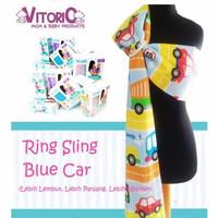 Ring Sling Vitorio Blue Car Selendang Fiber Katun Halus gendongan bayi
