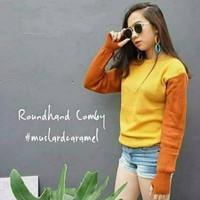 Jual JUAL Round Hand Combi Mustard Caramel Sweater Murah