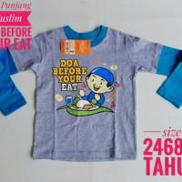 2 4 6 tahun baju panjang muslim anak laki-laki doa before your eat