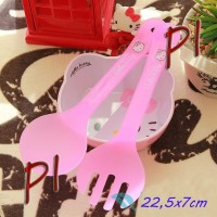 Sendok Garpu Centong Nasi Sayur Salad Besar Set Makan Spoon Fork Dapur Kitchen Karakter Lucu Hello Kitty Helo Kity Hellokitty HK