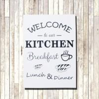 Poster Art Quotes / Wooden Art + Bingkai Kayu Welcome Tou Our Kitchen