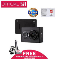 Jual Xiaomi Yi Action Cam-16MP-Inter-Hitam+San 16GB+Monopod+waterproof case Murah
