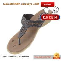 No 38 Carvil Citron 01 L DK Brown Sandal Wanita Heels Slip On Casual